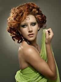 Medium-length, curly brown hair
