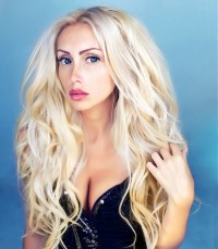 Long, wavy, blond hairstyle