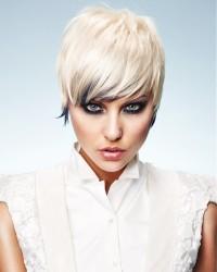 Short, choppy, blond haircut with black endings