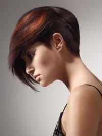 Short, bob style haircut with red highlights and long bangs