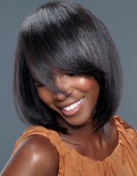 Short, bob hairstyle for black hair