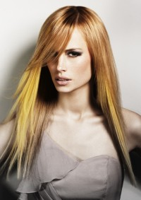 Long, straight, blonde hairstyle with yellow ombre