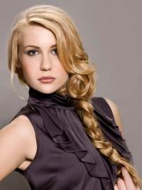 Long, blonde braid with loose streaks of hair