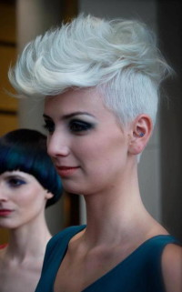 Short, light blonde haircut with mohawk and shaved sides