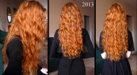 Long, curly red hair