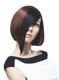 Medium-length, brown hairstyle with longer front
