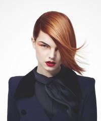 Medium-length, red hairstyle
