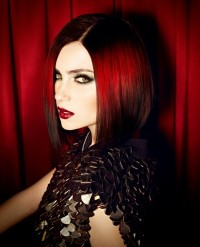 Medium-length, red hairstyle
