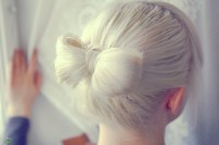 Updo fo platinum hair with ribbon