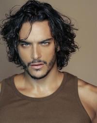 Medium-length, messy, men hairstyle