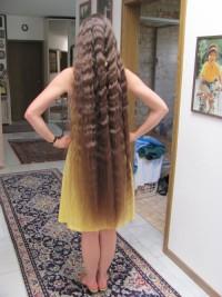 Long, curly, blond hair