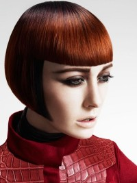 Short, bowl cut, red hairstyle