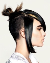Black hairdo with high bun and shaved back