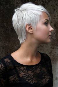 Short, pixie, choppy, platinum hair