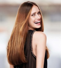 Long, straight, brown hairstyle
