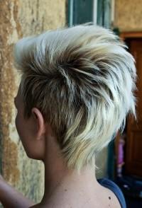 Short, choppy, layered, blonde hairstyle
