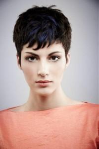 Short, choppy, black hairstyle