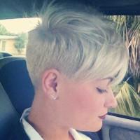 Short, pixie, blonde haircut