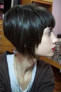 Short, pixie, bob haircut with regular bangs