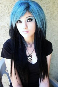 Long, two-toned hair with blue top and black endings