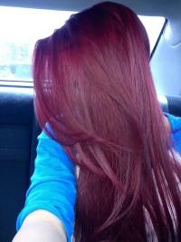 Long, straight, dark red hair