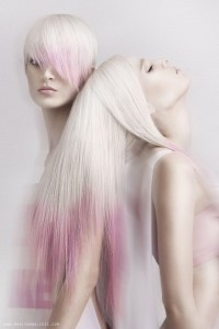 Long, light blonde hairstyle with pink endings