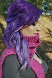 Long, violet hairstyle