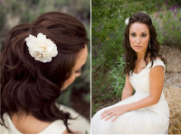 Long updo for black haired bride with flower accessories