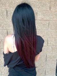 Long, classic, straight, dark hairstyle