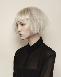 Bowl cut hairstyle for light blonde hair