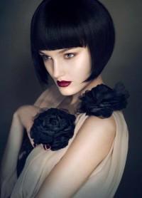 Bowl cut black hairstyle