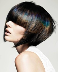 Short, black haircut with blue reflections