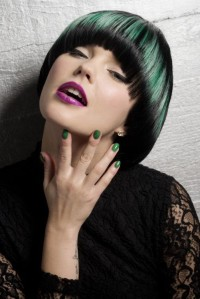 Green, bowl cut hairstyle