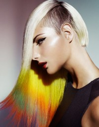 Long, colourful hairstyle for blonde hair