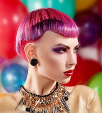 Short, red haircut with violet hair