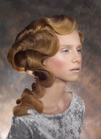 Long, wavy updo for blond hair