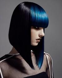 Medium-length, blue haircut