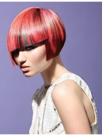 Short, bowl cut, red hair