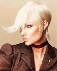 Short, choppy haircut with wavy, longer fringe