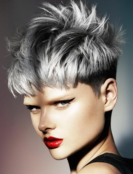 Short, choppy, black hair with grey highlights
