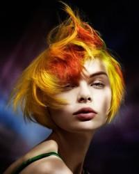 Short, yellow-red haircut