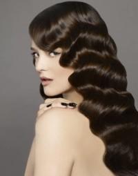 Long, black, wavy hairstyle