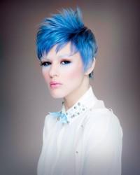Short, choppy, blue haircut
