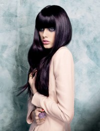 Long, straight, classic, black hairstyle
