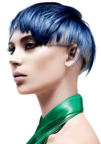 Short, bowl cut hairstyle with blue and white hair