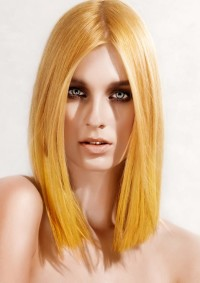 Medium-length blonde hair with parted bangs