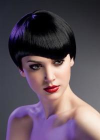 Short, bowl cut hairstyle for black hair