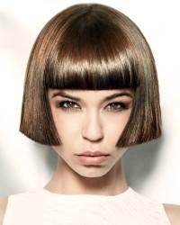 Short, brown, Cleopatra's haircut