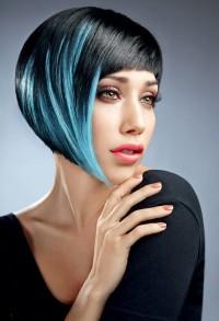 Bob haircut foor dark hair with blue highlights
