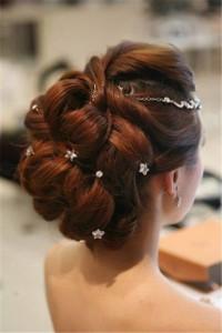 Lovely updo for dark brown hair for wedding